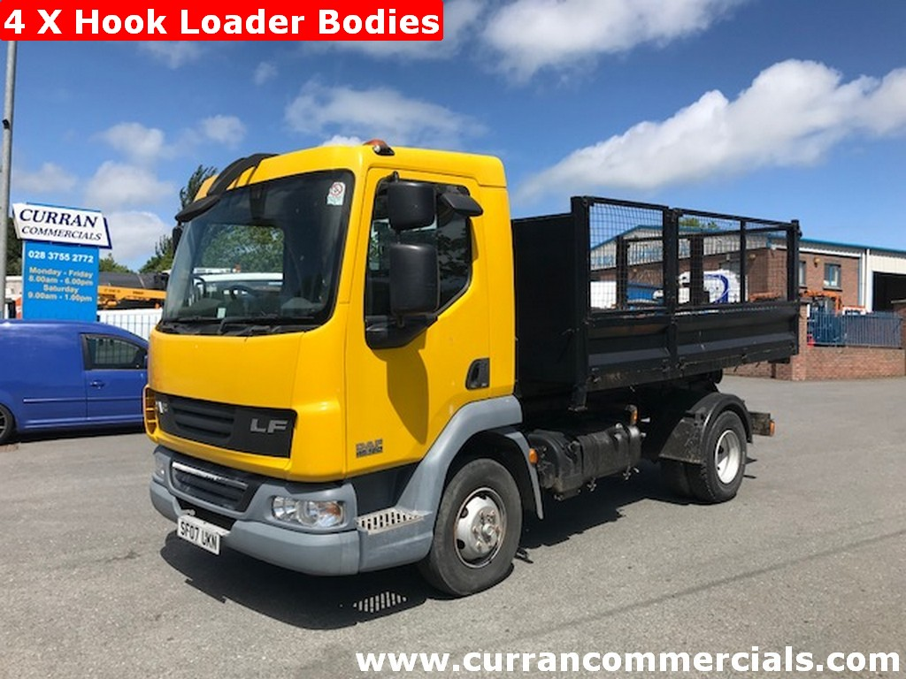 2007 daf lf 45 160 7.5 ton hook loader tipper